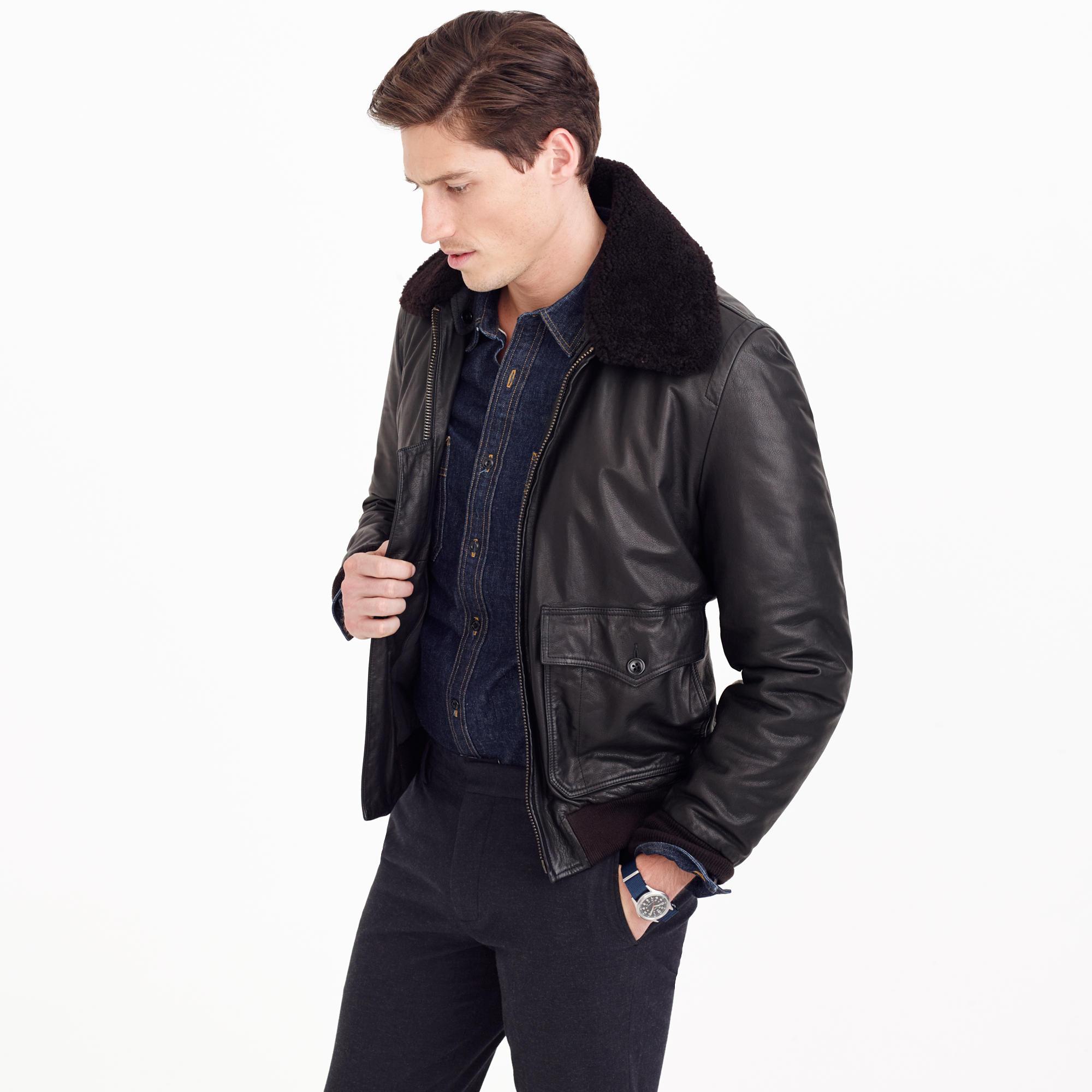 Men's jacket collar - Wallace Amp Barnes Sherpa Collar Italian Leather G 1 Flight