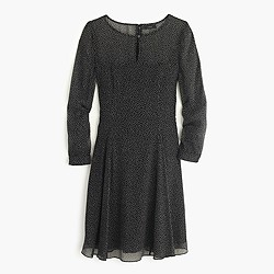 Petite long-sleeve speckled chiffon dress