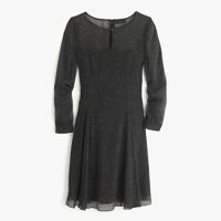 Petite long-sleeve speckled chiffon dress
