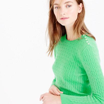 Italian cashmere mini-cable sweater