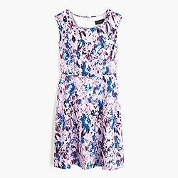 Petite flare dress in watercolor floral print