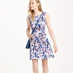 Petite flare dress in watercolor floral print