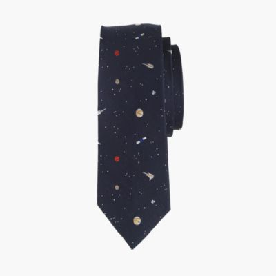 Boys' silk tie in planet print