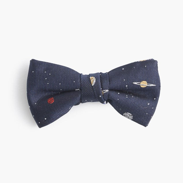 Boys' silk bow tie in planet print