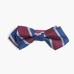 Boys' silk bow tie in burgundy stripe