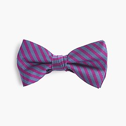 Boys' silk bow tie in fuchsia stripe