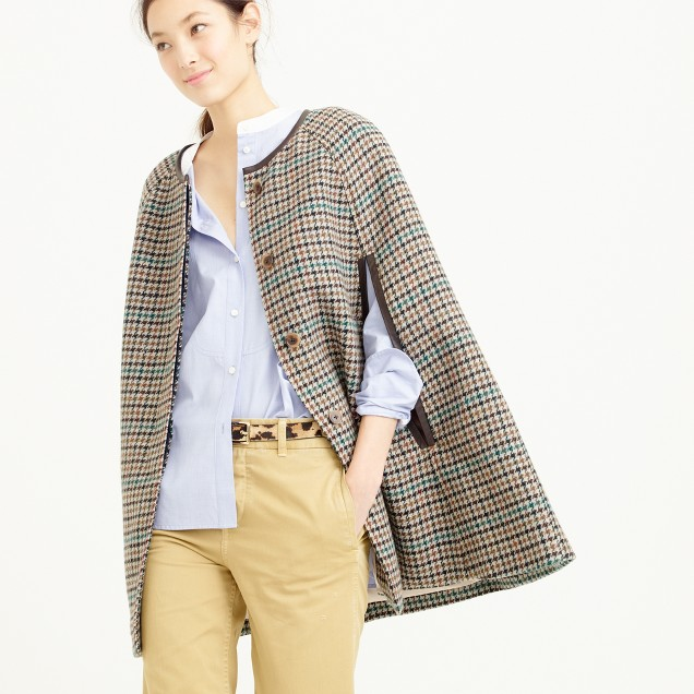 Cape jacket in houndstooth
