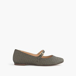Girls' gold-striped Mary Janes