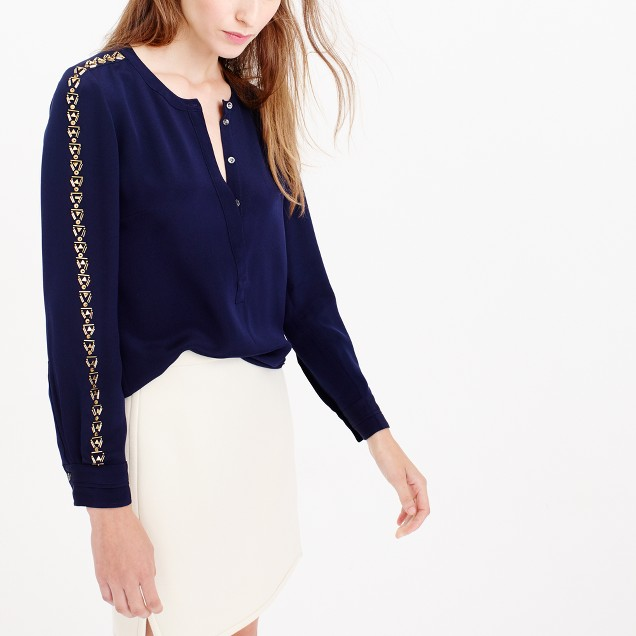 Collection embellished crepe de chine blouse