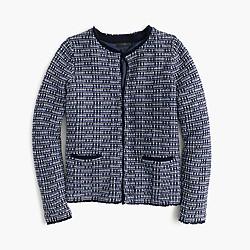 Petite tweed sweater-jacket with fringe trim