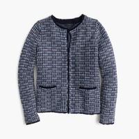 Tweed sweater-jacket with fringe trim