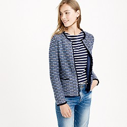 Petite tweed sweater-jacket with fringe trim