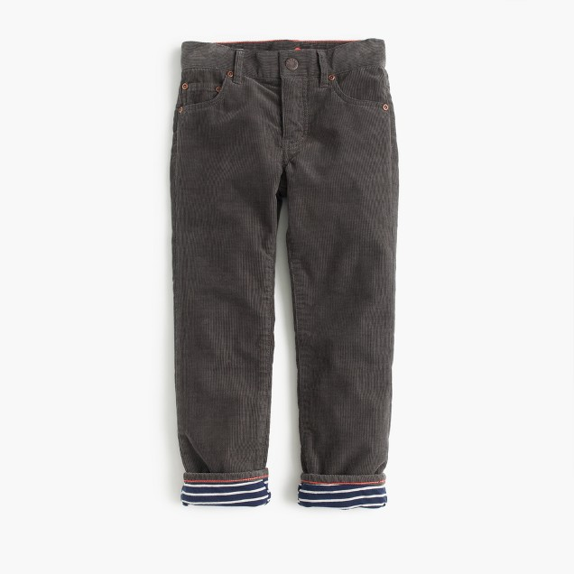 Boys' jersey-lined cozy cord