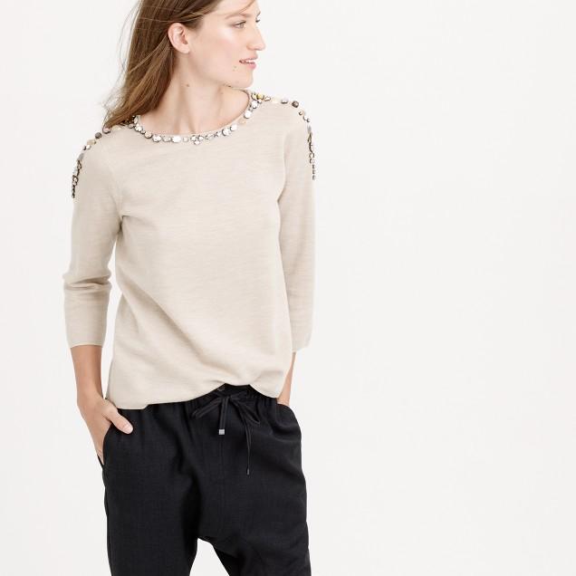 Jeweled crewneck sweater