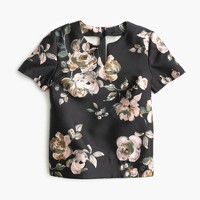 Collection silk-wool top in painterly floral