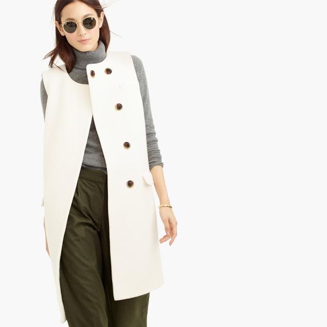 Collection double-faced Italian wool sleeveless coat