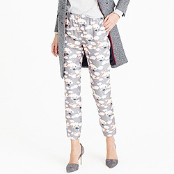 Collection Italian silk twill pant in thistle floral
