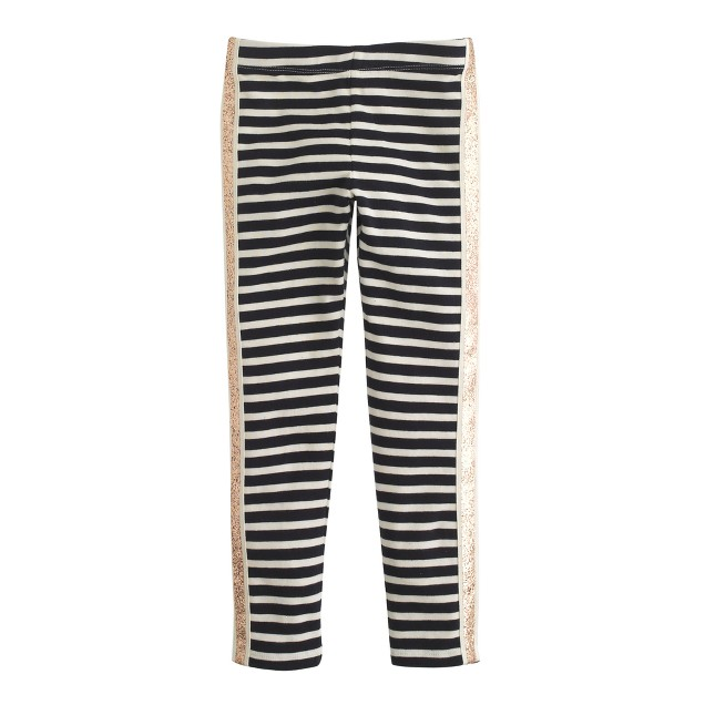 Girls' everyday leggings in glitter tux stripe