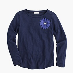 Girls' long-sleeve stone flower T-shirt