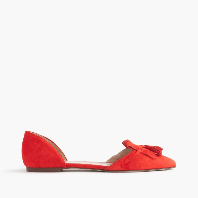 Suede d'Orsay loafer flats