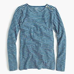 Long-sleeve painter T-shirt in indigo stripe