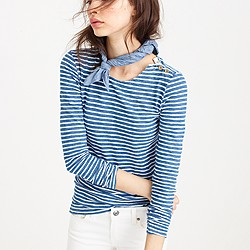 Petite long-sleeve painter T-shirt in indigo stripe