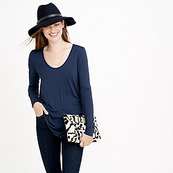 Drapey long-sleeve scoopneck T-shirt