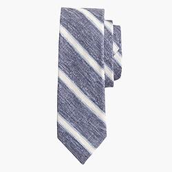 Linen-cotton tie in navy stripe
