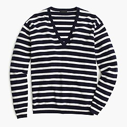Collection cashmere boyfriend V-neck sweater in stripe