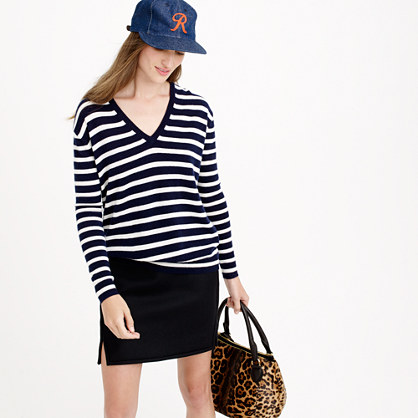Italian cashmere boyfriend V-neck sweater in stripe