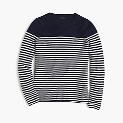 Italian cashmere long-sleeve T-shirt in stripe