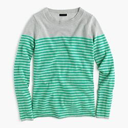 Italian cashmere long-sleeve T-shirt in stripe