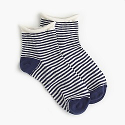 Gingham rolled-cuff ankle socks