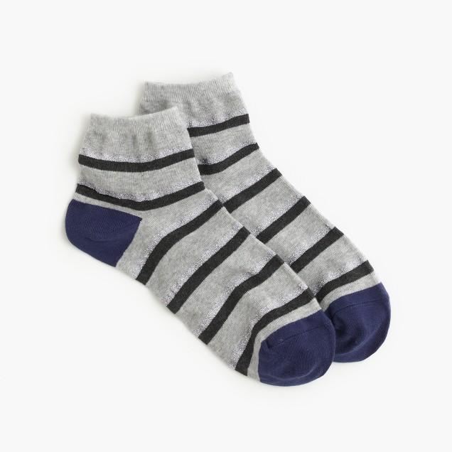 Shimmer-striped ankle socks