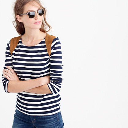 Striped suede-shoulder T-shirt