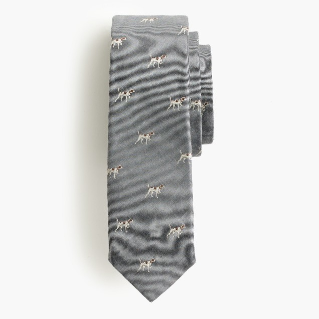 Textured Italian silk-wool tie with embroidered dogs