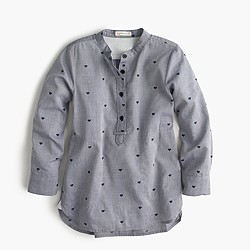 Girls' popover shirt in mini hearts