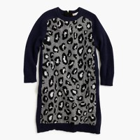 Girls' sweater-dress in leopard