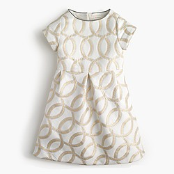 Girls' metallic jacquard party dress