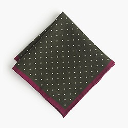 Italian wool pocket square in bordered dot