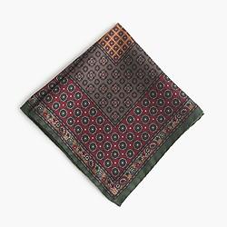 Italian silk pocket square in classic foulard