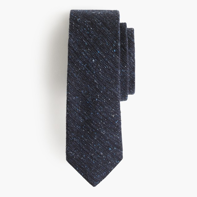 English silk-wool noil tie in solid