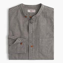 Wallace & Barnes jaspé band-collar popover shirt