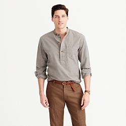 Wallace & Barnes jaspé band-collar popover shirt