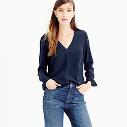 Tall silk drapey V-neck blouse