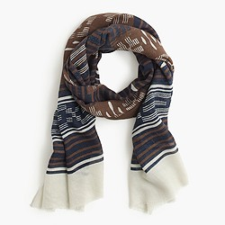 Wool-silk tribal scarf