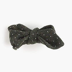 English silk tweed bow tie in micro dots