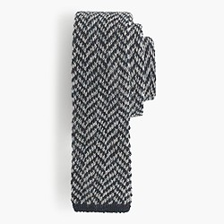 Italian wool knit tie in herringbone