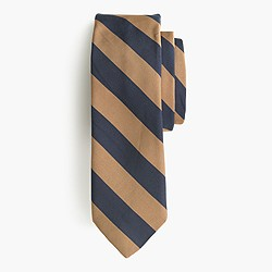 English silk-cotton tie in old-school stripe