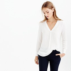 Tall silk drapey V-neck blouse in ivory